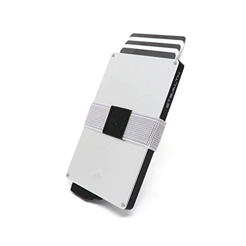 STEALTH WALLET Porta Carte RFID - Portafogli Pop-up Minimalisti - Portafogli Titolare della Carta Credito in Metallo Leggero e Sottile con Protezione e Custodia (Argento)