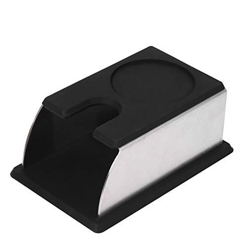 Kaffee-Manipulationsständer, kompaktes Kaffeepulver-Ständerwerkzeug aus Edelstahl, rutschfestes Design, 5,5 '' x 2,95 '' x 2,56 ''(Schwarz)