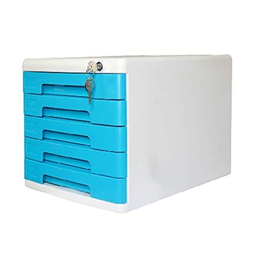 Simplicidad moderna Archivador Cajonera Archivador de sobremesa de 5 capas Cajón con cerradura de múltiples funciones Gabinete pequeño Gabinete de almacenamiento (Color: Azul, Tamaño: 36.1x2
