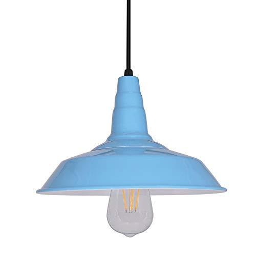 Colgante de luz de techo vintage, pantallas de lámparas de iluminación de techo retro azul, lámpara araña E27, altura ajustable, iluminación blanca cálida, para tienda restaurante cafetería