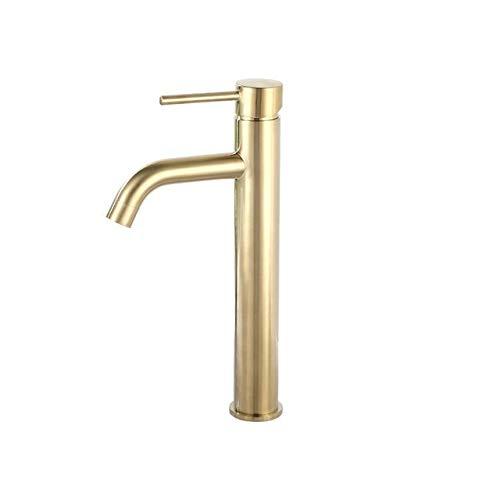 ZHQHYQHHX Grifo de lavabo de baño de latón de oro rosa con una sola manija montada en la cubierta caliente y fría del fregadero del baño del grifo mezclador de agua (color: oro cepillado alto)
