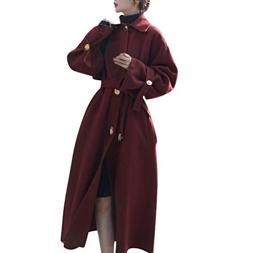 HuaCat Wollmantel Damen Selected Mantel Winter Lang Cardigan Trenchcoat Open Front mit Gürtel Langarm Parka Jacke