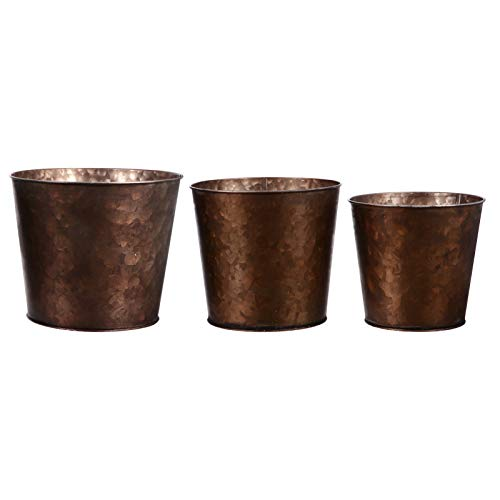 YARNOW 3pcs Bronze Antique Plant Planter Galvanized Metal Flower Bucket Rustic Vintage Flower Pot Vase Flower Holder