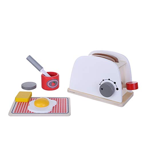 Wooden Kids Play Kitchen Accessories, Wooden Kitchen supplies use for Play Food, Great Gift for Girls and Boys - Best for 3, 4, and 5 Year Olds (Pop-Up Toaster Set)