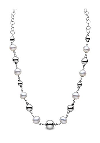 Kimura-Braccialetto con perle di fiume, in argento, 19 cm, colore bianco Semi-rotonde d'acqua dolce e perle d'acqua dolce, in argento, 40,6 cm