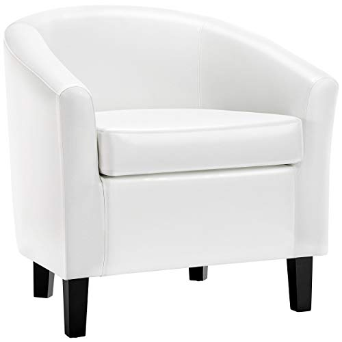 Topeakmart Faux Leather Arm Chair Contemporary Upholstered Tub Accent Chair PVC Leather Small Barrel Club Chair Single Sofa Chair for Living Room Bedroom White