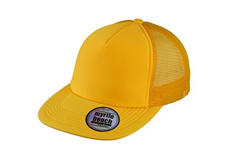MYRTLE BEACH 5 Panel Flat Peak Cap in Gold-Yellow Taille: Taille Unique