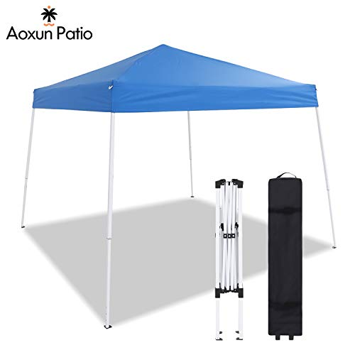 Aoxun Patio 10 X 10 FT Pop-Up Slant Leg Canopy Tent, Reinforced Steel Frame Commercial Instant Shelter with 3 Adjustable Heights, Easy-Carrying Lightweight Canopy with Wheeled Carry Bag (Blue)