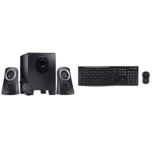 Logitech Z313 Speaker System Bundle with Logitech MK270 Wireless Keyboard and Mouse Combo - Keyboard and Mouse Included, 2.4GHz Dropout-Free Connection, Long Battery Life (Frustration-Free Packaging)