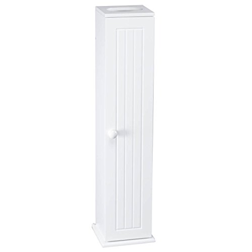 "OakRidge Miles Kimball White Compact Toilet Tissue Storage Tower with 4 Shelves, 5.5"" W x 27"" H x 6.75"" L – Holds Toilet Paper Rolls Up to 4.25"" Diameter, Top Slot Provides Access to Facial Tissues"