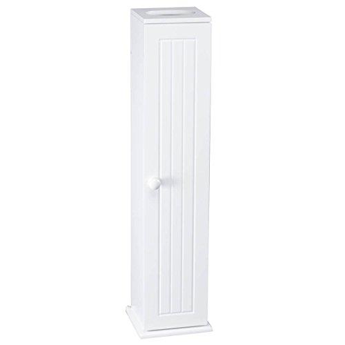 """OakRidge Miles Kimball White Compact Toilet Tissue Storage Tower with 4 Shelves, 5.5"""" W x 27"""" H..."""