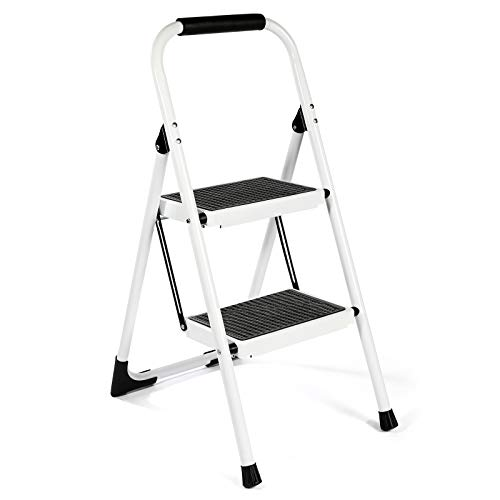 EFFIELER Step Ladder Ergonomic 2 Step Stool Folding Step Stool with Wide Anti-Slip Pedal 370 lbs Sturdy Step Stool for Adults Multi-Use for Household,Kitchen,Office Step Ladder Stool (White)