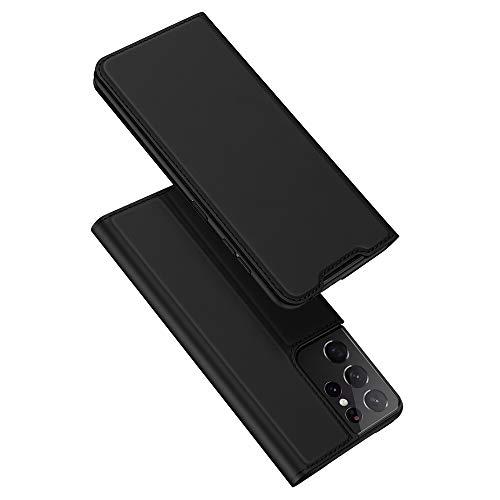 DUX DUCIS Cover Samsung Galaxy S21 Ultra, Flip Caso Custodia Pelle PU con [Funzione Stand] [Slot Cart] per Samsung Galaxy S21 Ultra (Nero)