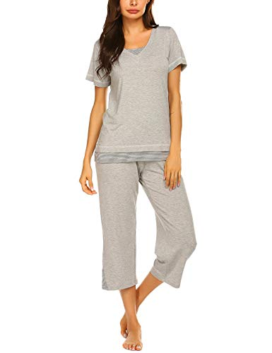 Ekouaer Ladies Jammies Sleepwear Set Short Sleeve Night wear Tank PJ Pajama Set (Gray,L)
