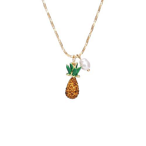 QiuYueShangMao Collar de piña de Diamantes de Color Simple Estilo Coreano Collar de Frutas de Perlas Silvestres pequeñas Joyas Friends Collar talismanes Collar
