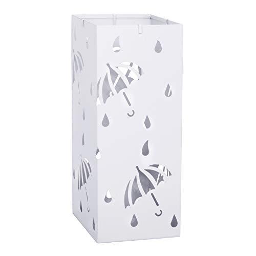Lestarain Schirmständer Metall Regenschirmständer Schirmhalter mit Wasserauffangschale und Haken Quader Weiß Ø20 x H49 cm