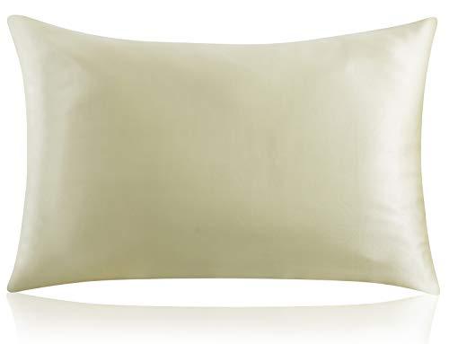 ZIMASILK Funda de almohada de seda 100% morera para la salud del cabello y la piel, ambos lados 19 Momme seda, 1 pieza (Queen 50 x 30 cm), color verde frijol