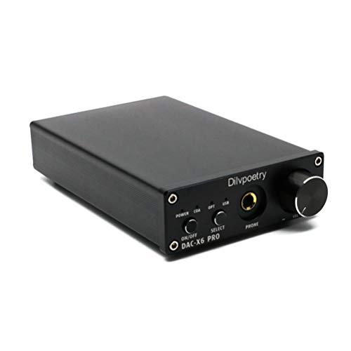 Dilvpoetry X6 Pro HiFi DAC Headphone Amplifiers Portable Stereo Audio Digital Amplifier USB/Coaxial/Optical 24Bit/192kHz Decoder Amp(Black)