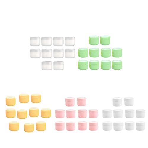 SM SunniMix 50x Pots Vide Cosmétique en Plastique Récipient Cosmétique pour Stockage Boîte de Crèmes - 50g