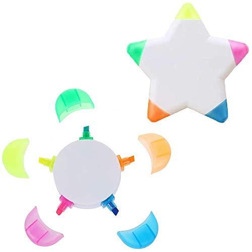 1/5 PZ evidenziatori, Bambini Disegno Marcatori Fiore/Stella A Forma di 5 Colori in 1 Fluorescente Petalo acquerello Marker Pen (1 x Fiore Forma )