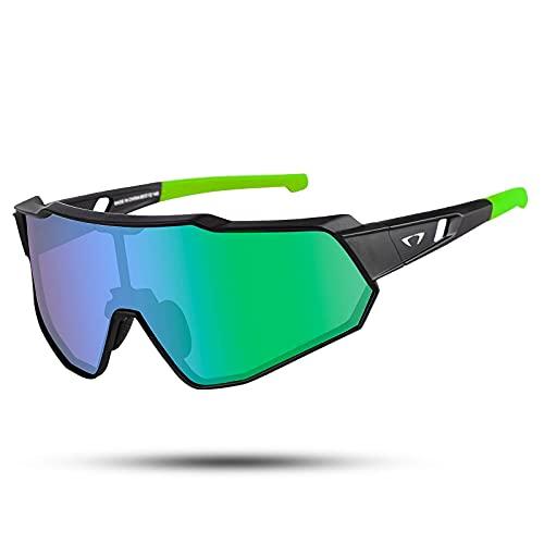 Gafas de ciclismo polarizadas anti-UV400 TR90 MTB gafas de seguridad hombres mujeres gafas de sol deportivas para béisbol correr pesca conducción golf (negro verde)