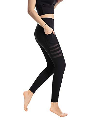 Aidotop High Waist Leggings Damen Netzoberfläche Lange Yogahose Sporthose Fitnesshose Laufhose Training Tights mit Taschen (Black, S)