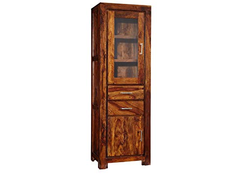 MASSIVMOEBEL24.DE Palisander Massivmöbel Holz massiv Life Honey Vitrine Massivholz Sheesham lackiert Möbel Metro Life #106