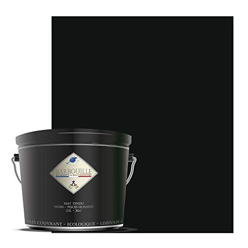 Peinture lessivable acrylique mat – murs et plafonds - 2,5 ltr Gris & Noir - Maléficio