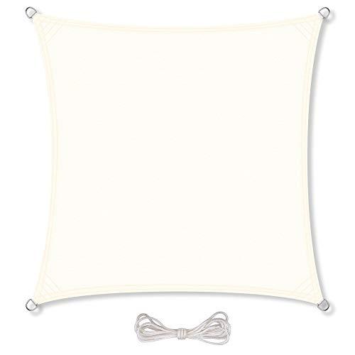 CelinaSun Sonnensegel inkl Befestigungsseile PES Polyester wasserabweisend imprägniert Quadrat 5 x 5 m Creme weiß
