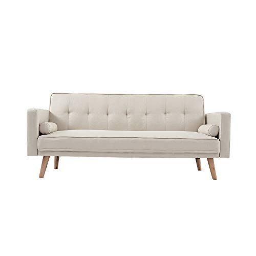 Panana Modern 3 Seater Sofa Bed Line Fabric Sofa Couch Settee Click Clack Recliner Sleeper with 2 Free Cushions for Living Room (Beige)