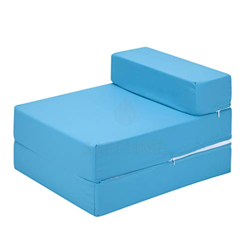 IKB Z Bed 100% Cotton Single FoldOut Chair Bed Guest Fold Out Futon Kids Sofa Mattress Foam Soft, Comfortable with a Zipped Removeable Cover - 12 Colours (Turquoise)
