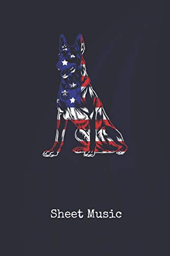 Sheet Music: Canine Police Dog K9 United States | Blank Writing Journal | Patriotic Stars & Stripes Red White & Blue Cover | Daily Diaries for ... Taking | Write about your Life & Interests