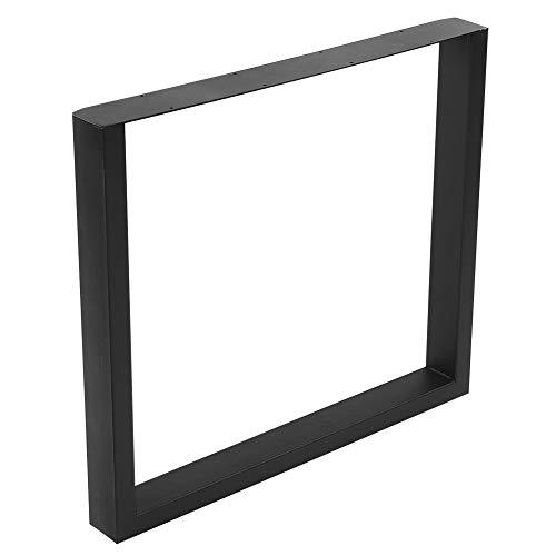 Juego de 2 patas de mesa industriales cuadradas de acero al carbono para uso diario, 800 x 720 mm