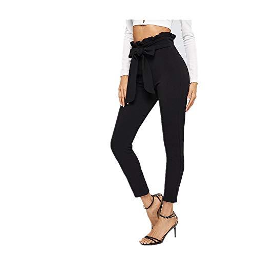U/A Pantaloni a vita alta con cintura Donna Skinny Nero L