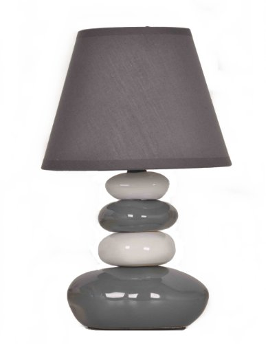 Lampe de table Galets Gris et Blanc - Chevet Abat jour gris