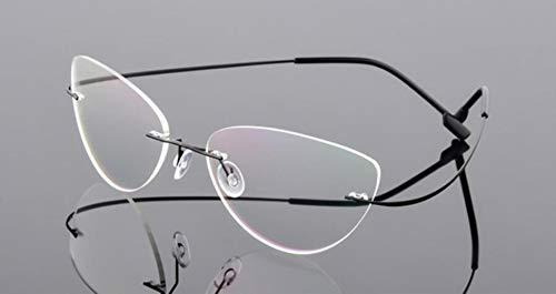 Boner Randloos brilmontuur Titaniumlegering Ultralight-bril Montuurloos Schroefloze bril Bijziendheid Optisch montuur, zwart
