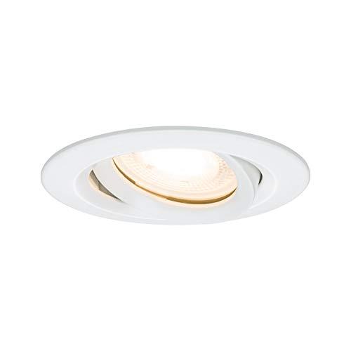 Paulmann Leuchten Paulmann 92897 LED Nova Einbaustrahler rund Spot IP65 strahlwassergeschützt 7W 1er-Komplettset inkl. GU10 Leuchtmittel schwenkbar Einbauleuchte, Aluminium, 7 W, Weiß matt