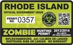 Yellow Dog Rhode Island RI Zombie Hunting Permit - Hunter Response Team Unit - 4' Outbreak Sticker