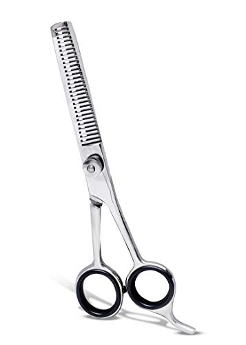 Hair Thinning Shears Professional Teeth Scissors 6.5 Inch with Adjustable Screw Barber Scissor for Texturizing Styling - Stainless Steel with Detachable Finger Ring by FocusWorld