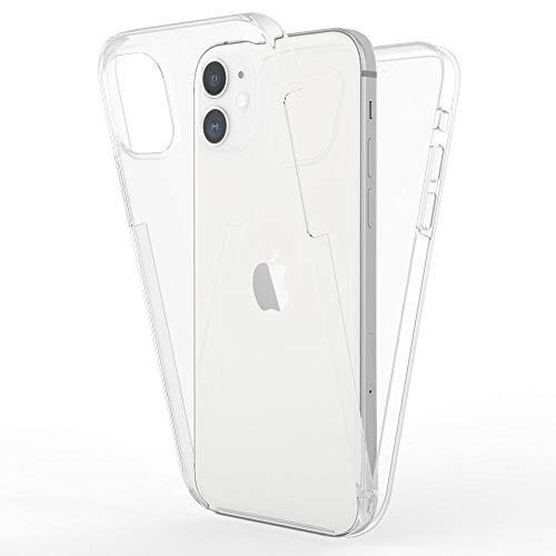Kaliroo Handyhülle 360 Grad kompatibel mit iPhone 12 Mini Hülle, Full-Body Schutzhülle Hardcase hinten und Bildschirmschutz vorne mit Silikon Bumper, Full-Cover Hülle Komplett-Schutz Schale - Transparent