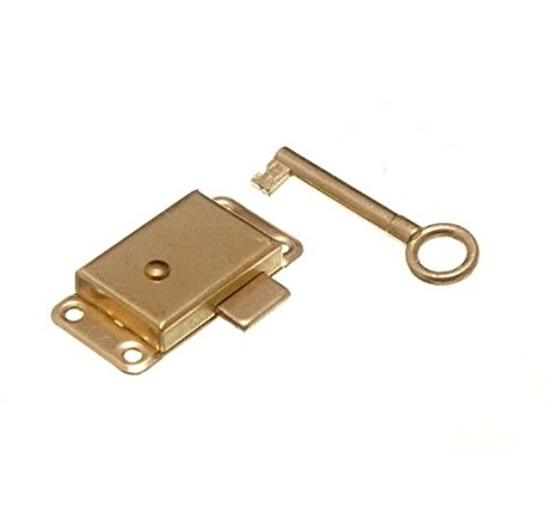 Merriway BH02168 Wardrobe Cabinet Cupboard Drawer Surface Lock and Key, 63mm (2.1/2 inch) 63 mm (Pack of 1), Brass