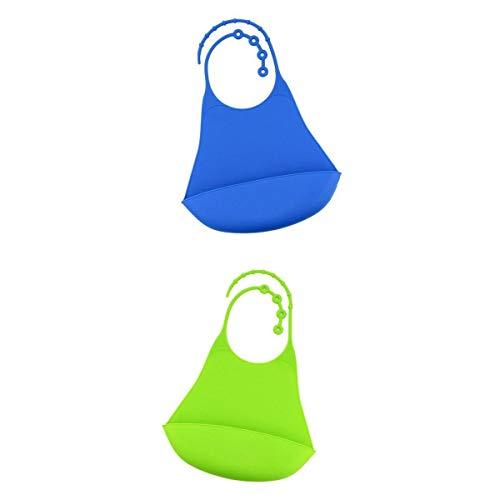Bonarty 2 Pedazos Baberos Adultos de Silicona, el Tamaño es Ajustable, Hay Varias Hebillas en el Cuello, Puede Ajustar el Tamaño Apropiado