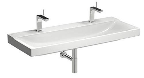 Keramag Xeno² Waschtisch 120 cm weiß KeraTect; mit 2 Hahnlöchern, ohne Überlauf