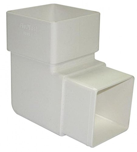 Floplast Quadratisches Fallrohr, 65 mm, 92,5 Grad abgewinkelt, Weiß, 2 Stück