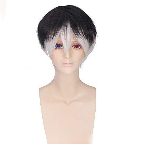 Seupeak Anime Tokyo Ghoul Re Sasaki Haise Short Wig Cosplay Costume Ken Kaneki Resistente al Calor Hombre Sintético Hombres Mujeres Cosplay Pelucas