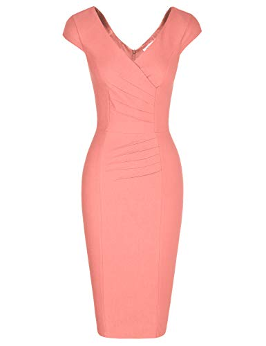 MUXXN Women's Retro 60s Style Ruched Cap Sleeve Juniors Cocktail Pencil Dress (Peach S)