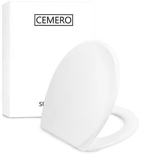Premium Toilettendeckel - Oval Klodeckel mit Quick-Release-Funktion und Softclose Absenkautomatik - Antibakterielle Klobrille aus Duroplast und rostfreiem Edelstahl - abnehmbar & klassisch