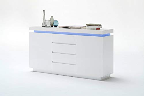 Newfurn Sideboard Kommode Modern Anrichte Highboard Mehrzweckschrank II 150x81x 40 cm (BxHxT) II [Liv.Three] in Weiß/Weiß Wohnzimmer Schlafzimmer Esszimmer