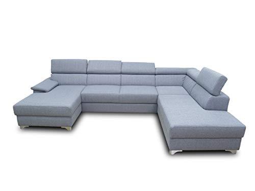 DOMO. collection Niria Wohnlandschaft | Eckcouch mit Schlaffunktion & Rückenfunktion | Sofa U Form Couch, großes Schlafsofa, grau, 167x337x230 cm