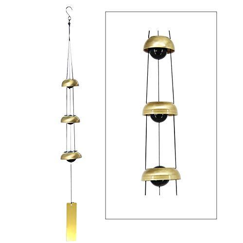 YeBon Feng Shui Windspiel, 3 Glocken, Kupfer, hängende Dekoration, Garten, Fenster, Dekoration, tolles Geschenk (Gold)